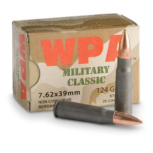 Wolf Military Classic 7.62x39mm Ammunition 20 Rounds 124 Grain Bi-Metal FMJ Steel Cased 2330 fps