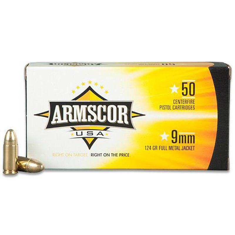 Ammo 9mm Armscor USA FMJ 124 Grain 50 Round Box 1090 fps Practice And  Target Ammunition 50041