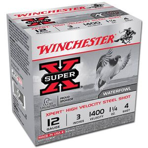 """Ammo 12 Gauge Winchester SuperX Xpert High Velocity 3"""" #4 Steel 1-1/4 Ounce 25 Round Box 1400 fps WEX123H4"""