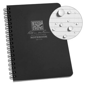 """Rite in the Rain All-Weather Side Spiral Notebook 4.625"""" x 7"""" Polydura Black"""