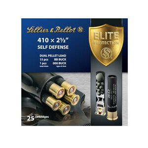 """S&B Self Defense .410 2-1/2"""" One 000 Buck and 15 BBs 25 Rounds"""
