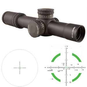 Trijicon AccuPower 1-8x28 Riflescope Illuminated Segmented Circle Crosshair Green LED Reticle First Focal Plane 34mm Tube .1 MIL Adjustments CR2032 Battery Aluminum Housing Matte Black