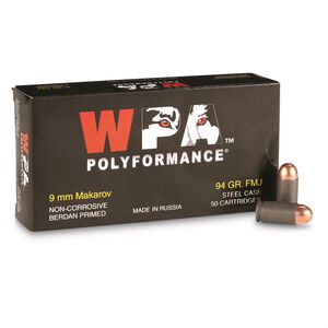Wolf Performance 9x18 Makarov Ammunition 50 Rounds FMJ 94 Grain