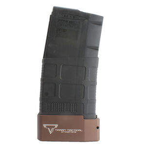 Taran Tactical Innovations Firepower Base Pad Magpul PMAG .308 AR Magazine Extension +5 Capacity Billet Aluminum Anodized Coyote Bronze Finish