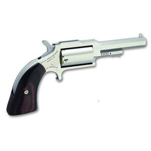 "NAA 1860 Sheriff Single Action Revolver .22 Mag .22 LR 2.5"" Barrel 5 Rounds Wood Grips Stainless Finish NAA-1860-250C"