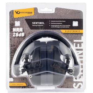 Pyramex VGPME20 Sentinel Electronic Earmuff 26dB Noise Reduction Rating 2 AAA Batteries Black Finish