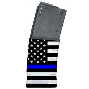 Mission First Tactical Extreme Duty AR-15 Magazine .223 Rem/5.56 NATO 30 Rounds Polymer Black with Blue Line American Flag 1