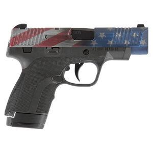 "Honor Defense Honor Guard Compact Semi Auto Pistol 9mm Luger 3.8"" Barrel 7/8 Round Magazine Snag Free Sights Compact With Long Slide/Short Frame US Flag Slide/Matte Black Finish"