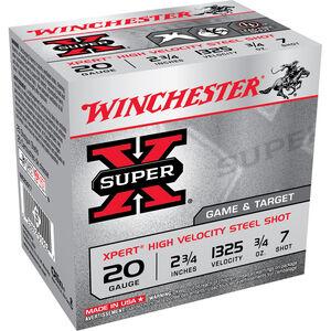 """Winchester Super X Expert 20 Gauge Shot Shells 25 Rounds 2 3/4"""" #7 Steel 3/4 Ounce WE20GT7"""