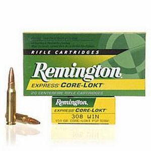 Remington Express .308 Winchester Ammunition 20 Rounds 150 Grain Core-Lokt PSP Soft Point Projectile 2820fps