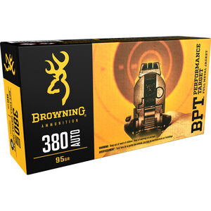 Browning BPT .380 ACP Ammunition, 50 Rounds, 95 Grain FMJ, 1000fps