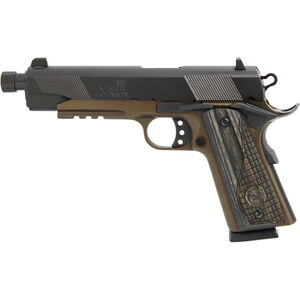 "Iver Johnson Eagle LR Special .45 ACP 1911 Government Semi Auto Handgun 5.75"" Threaded Barrel 8 Rounds Series 70 Style Night Sights Blued/Midnight Bromze"