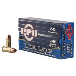 Prvi Partizan PPU 9mm Luger Ammunition 50 Rounds 115 Grain JHP 1145fps
