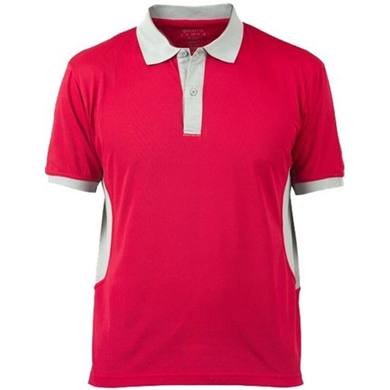 Beretta Special Purchase Men's Polo Short Sleeve Large Cotton Red and Silver