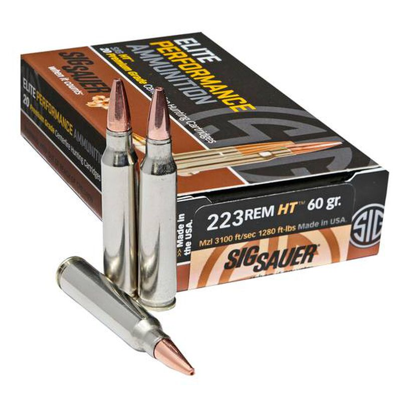 SIG Sauer HT Elite Hunting .223 Remington Ammunition 20 Rounds 60 Grain Solid Copper Open Tip Match 3100fps