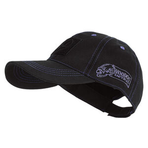 Voodoo Tactical Classic Cap with Removable Flag Patch Fits Most (Black With Blue Stitching)