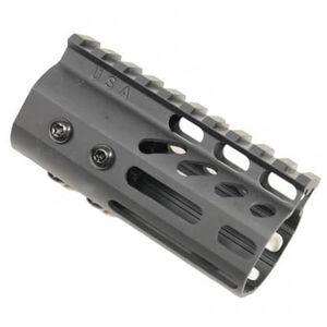 "Guntec USA AR-15 4"" Ultra Lightweight Thin Free Float Hand Guard Picatinny/M-LOK Aluminum Matte Black"