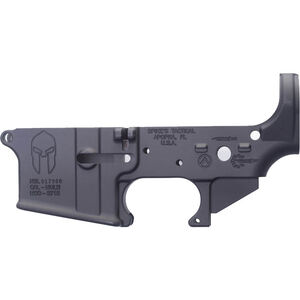 Spikes Tactical AR-15 Forged Stripped Lower Receiver Multi Caliber Forged Spartan Logo Non-Color Filled Aluminum Black STLS021