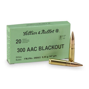 Sellier & Bellot .300 Blackout Ammunition 1000 Rounds FMJ 124 Grains SB300BLKA