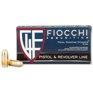 Fiocchi Shooting Dynamics .45 ACP Ammunition 50 Rounds 230 Grain Full Metal Jacket 860 fps