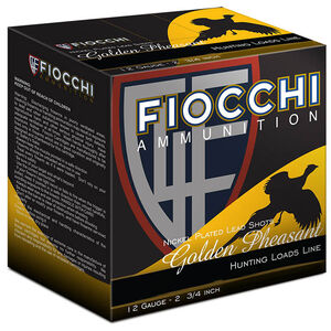 "Fiocchi Golden Pheasant 12 Gauge Ammunition 250 Rounds 2-3/4"" #7.5 Shot 1-3/8oz Nickel Plated Lead 1485fps"