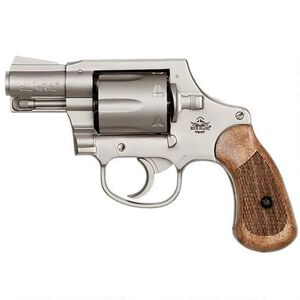 """Rock Island Armory M206 Spurless Double Action Revolver .38 Special 2"""" Barrel 6 Rounds Checkered Wood Grips Matte Nickel Finish"""
