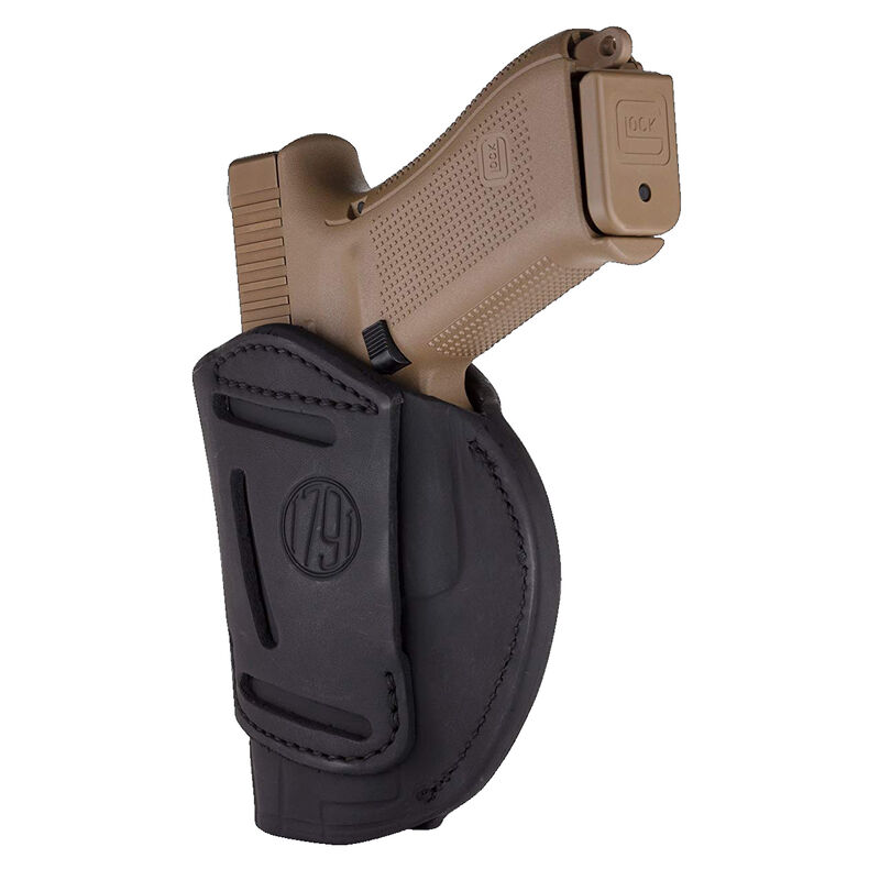 1791 Gunleather 4 Way WH-5 Multi-Fit IWB/OWB Concealment Holster for Full Size/Compact Semi Auto Models Right Hand Draw Leather Stealth Black