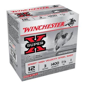 "Winchester Super X Expert 12 Gauge Ammunition 250 Rounds 3"" #1 Steel 1.25 Ounce WEX123H1"