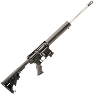 "Alexander Arms AR-15 Semi Auto Rimfire Rifle .17 HMR 18"" Fluted Barrel 10 Rounds G10 Composite Freefloat Handguard M4 Collapsible Stock Black"