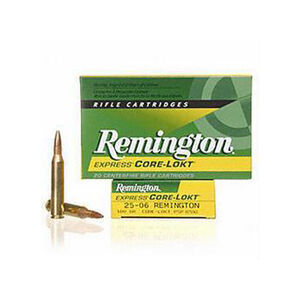 Remington Core-Lokt .25-06 Remington Ammunition 20 Rounds 100 Grain PSP 3230fps
