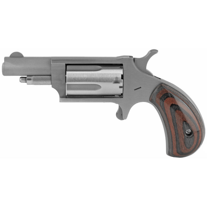 """North American Arms 22 WMR Single Action Mini-Revolver 5 Round 1-5/8"""" Barrel Red and Green Laminated Wood Grips Stainless Steel"""