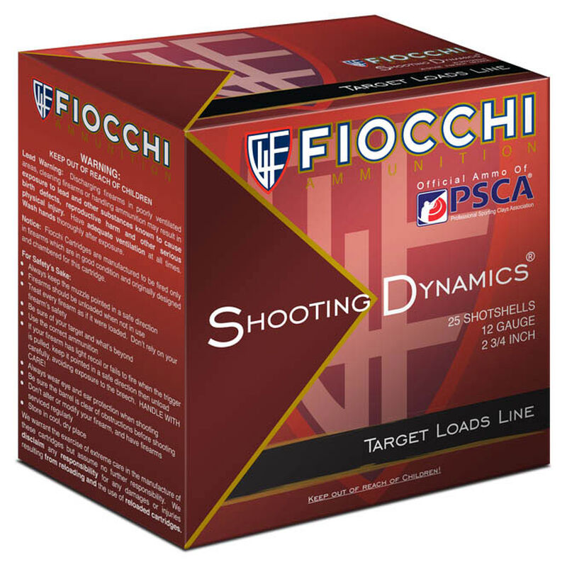 """Fiocchi 12 Gauge Ammunition 25 Rounds 2.75"""" #8 Lead Shot 7/8 oz."""