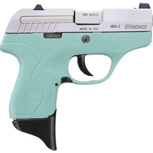 "Beretta Pico .380 ACP Semi Auto Pistol 2.7"" Barrel 6 Rounds XS Front Night Sight Two Tone Robin's Egg Blue Polymer Frame with Inox Slide Finish"