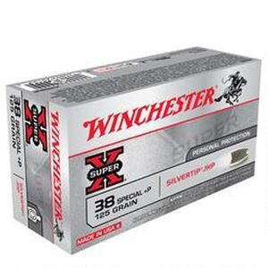 Winchester Super X .38 Special +P Ammunition 500 Rounds, Silvertip HP, 125 Grains