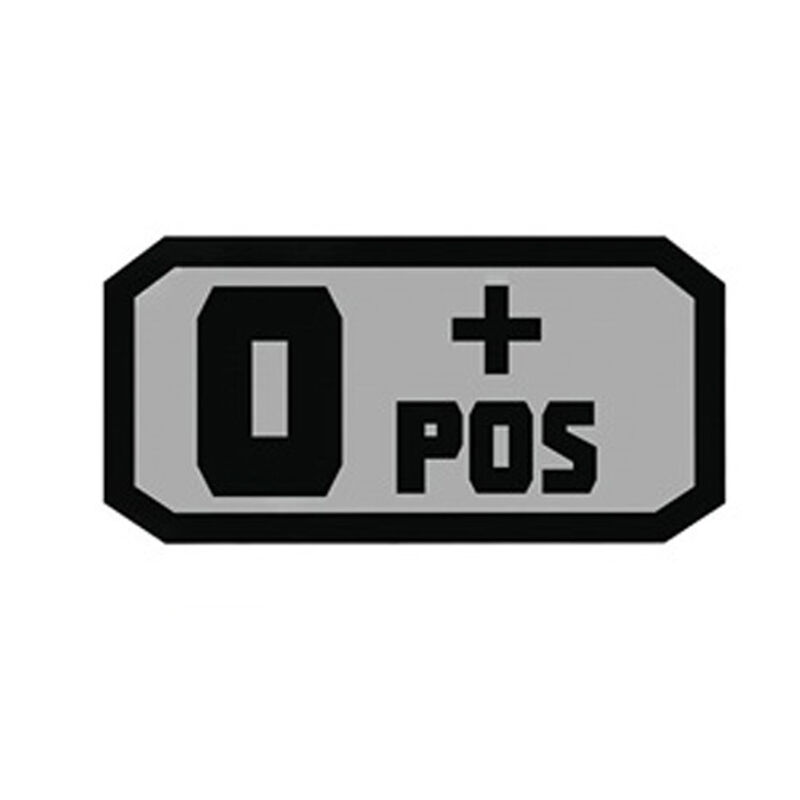 Voodoo Tactical Blood Type Patch O + POS TPR Rubber Gray