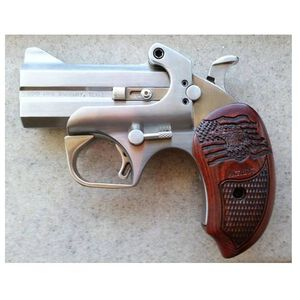 """Bond Arms Patriot Derringer .45 LC/.410 Bore 3"""" Barrels Two Rounds Rosewood Grips Brushed Stainless with BAD Driving Holster BAPA45410"""