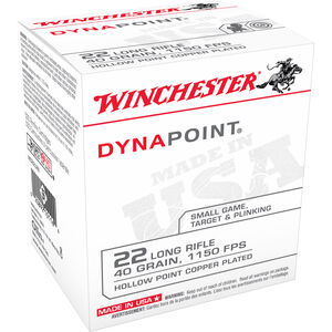 Winchester Dynapoint .22LR Ammunition 40 Grain Hollow Point Copper Plated 1150 fps