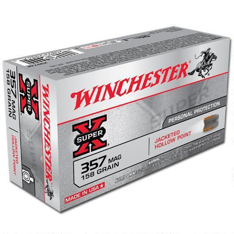 Winchester Super X .357 Magnum Ammunition 500 Rounds, JHP, 158 Grain