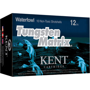 "Kent Cartridge Tungsten Matrix Waterfowl 12 Gauge Ammunition 10 Rounds 2-3/4"" Shell #3 Non-Toxic Lead Free Shot 1-3/8 Ounce 1375 fps"