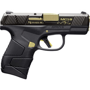 """Mossberg MC1sc Centennial 9mm Luger Subcompact Semi Auto Pistol 3.4"""" Barrel 7 Rounds 3-Dot Sights Black Polymer Frame and Finish with Gold Accents"""