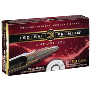 Federal Premium .30-06 Springfield Ammunition 20 Rounds Nosler Partition SP 180 Grains P3006F
