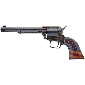 """Heritage Manufacturing Inc. Rough Rider .22 LR Revolver 6-1/2"""" Barrel 6 Rounds Fixed Sights American Flag Grips Black Finish"""