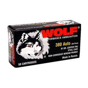 Wolf Performance .380 ACP Ammunition 1000 Rounds FMJ 94 Grain