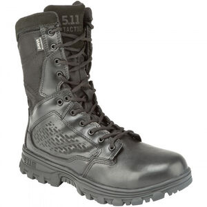 "5.11 Tactical EVO 8"" Waterproof Boot with Sidezip Size 10.5 Regular Leather/Nylon Black 12312"