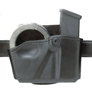 Safariland Model 573 Open Top Magazine/Handcuff Pouch Group 4 Leather Look Left Hand Draw Plain Finish Black 573-76-22