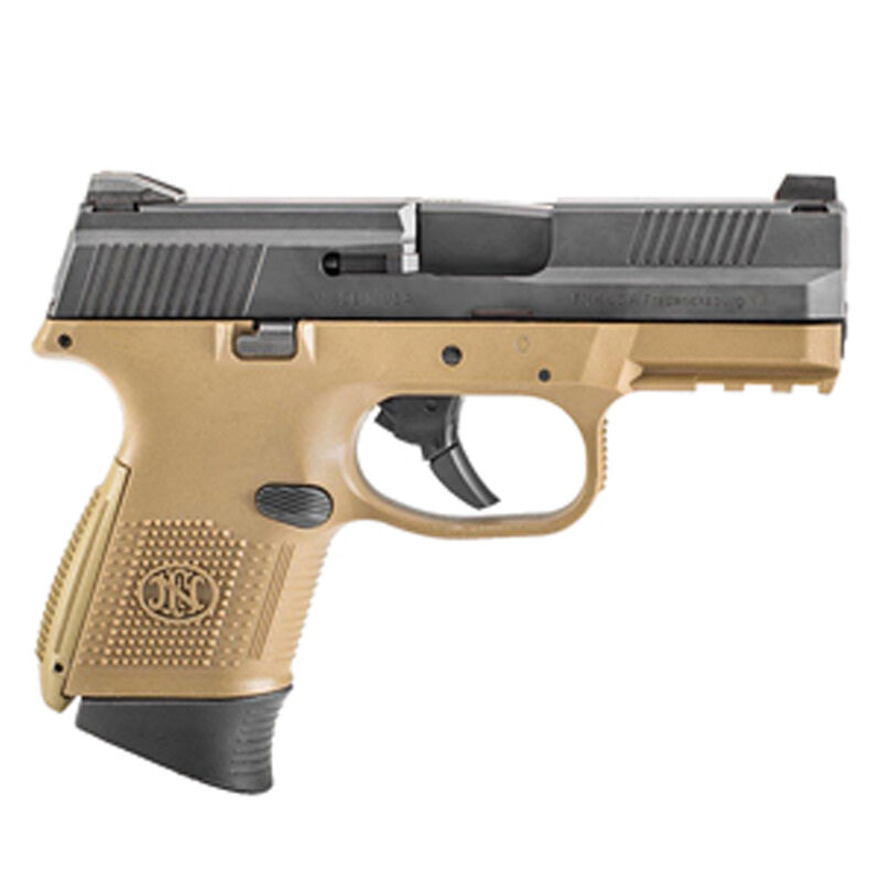 """FN-USA FNS-9C Compact Semi Auto Pistol 9mm Luger 3.6"""" Barrel 10 Rounds Fixed 3 Dot Sights No Manual Safety Black Slide/Polymer Frame Flat Dark Earth Finish"""