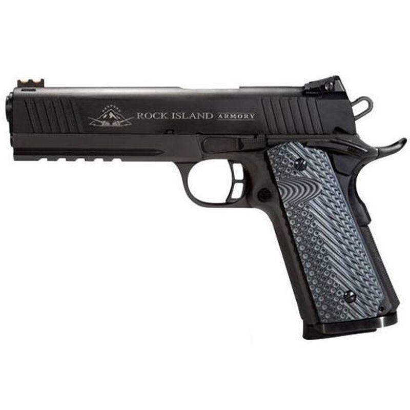 "Rock Island Armory TAC Ultra FS Semi Auto Handgun .45 Auto 5"" Barrel 8 Rounds Picatinny Rail Fiber Optic Front Sight Adjustable Rear Sight G10 Grips Parkerized Finish"
