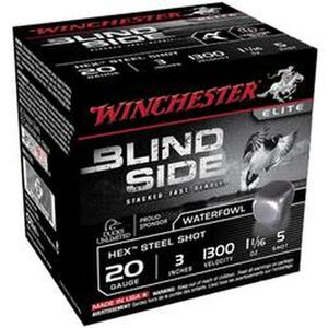 """Winchester Blind Side 20 Ga 3"""" #5 Hex Steel 25 Rounds"""