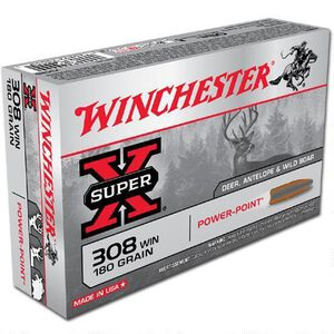 Winchester Super-X .308 Winchester Ammunition 180 Grain Power Point JSP 2620 fps