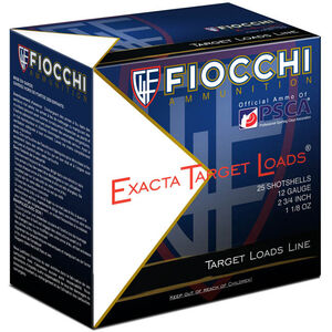 "Fiocchi 12 Gauge Ammunition 25 Rounds 2.75"" #8 Lead Shot 1.125 oz. 12SSCX8"